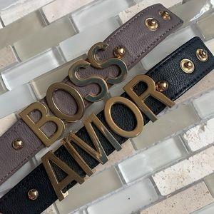 BCBG Amor Boss Snap Vegan Leather Cuff Bracelets